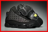 düşük fiyatlı basketbol ayakkabıları toptan satış-Online düşük fiyat eğitici spor ayakkabı satışı çalışan 13 siyah kedi basketbol erkek ayakkabıları 13s XIII ucuz spor tasarımcı ayakkabı lüks