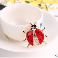 Wholesale Ship Wedding Dress China - The new hot brooch Ladybug diamond brooches Men and women suits dress accessories onr colors three styles shipping free