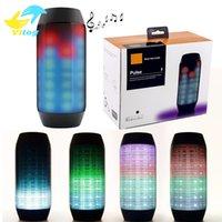 Wholesale Super Flash Lights - 2016 New Pulse Portable Bluetooth Speaker Super Bass Wireless Mini Speakers Sound Box Built-in Flash LED Light & Mic TF AUX USB Disck DHL