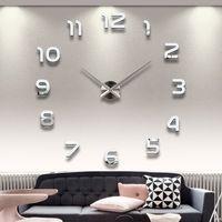 relógios de decoração em metal venda por atacado-Atacado-2016 New 3D Home Decor Quartz DIY Relógio de parede sem moldura grande relógio Horloge sala de estar Metal acrílico espelho relógios