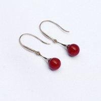2017 NOVO 1 PCS diamante Ear Studs Moda Gold Plated Red Coral Stud Earrings Round Bead Stud Earrings frete grátis