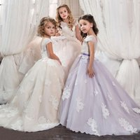 Wholesale Short Ballgown Party Dress - Tulle applique Flower Girl CommunionFormal Party Prom BallGown Princess Dress