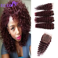 Cheap Indian Hair Extension 3 paquets avec fermeture Deep Wave Hair Deep Wine Bourgogne Rouge 99j # 100% Fermeture des dents en tissu humain