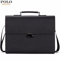 Wholesale Luxury Briefcases - Wholesale- VICUNA POLO Famous Brand Business Men Briefcase Bag With Theftproof Lock Black OL Men's Handbag Luxury office maletin hombre