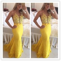 Wholesale Formal List - 2017 New Listing Appliques Beading Yellow Mermaid Lace Prom Dresses Long Party Evening Elegant Formal Gowns