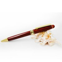 Wholesale Gold Recycled - 5 pieces lot wooden recycled Eco pen high quality wood pen ballpoint pens with gold parts free shipping and drop shipping