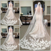 Wholesale Cathedral Length Tulle Veil - Best Selling Chapel Length Bridal Veils with Appliques In Stock Long Wedding Veils 2017 Vestido De Noiva Longo Wedding Veil Lace Purfle