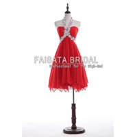 Wholesale Halter Sweetheart Formal Cocktail Dress - Red Short Evening Dresses Sexy Homecoming Dresses Backless A Line Chiffon Short Mini Evening Dresses 2016 Formal Cocktail Gowns Dress