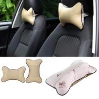 Wholesale Head Rest Cushions - Leather Car Headrest Neck Pillow Auto Seat Cover Head Neck Rest Cushion Headrest Pillow Automobiles Accessories 4 Colors CIA_605