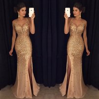 Wholesale Satin Beaded Trumpet - 2017 Latest V Neck Mermaid Long Prom Dresses High Split Crystal Beaded Gold Evening Party Prom Gowns vestido de fiesta
