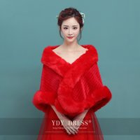 Wholesale More Bridesmaid Dresses - New Bride Korean Wool Shawls Long Sleeve Coat Fur More Warm White Wedding Bridesmaid Dress Bridal Wraps Jackets