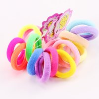 Wholesale hair rubber small - Wholesale- 5PCS Lot New Kids Small Hair Ropes Candy Colors Elastic Hair Bands Rubber Bands Girls Ponytail Holder Hair Accessories Tie Gums