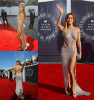 Wholesale Lace Affordable Mermaid Prom Dress - Jennifer Lopez Affordable 2017 luxurious Sexy Prom Dresses with Criss Cross Straps Split Sequin Backless silver Celebrity Red Carpet Gowns
