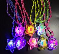 Wholesale plastic heart lights up - 600PCS Acrylic LED Necklace Light Up Necklace Toys Children Kids Novelty Flashing Halloween Club Pub Birthday Halloween Party