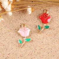 Wholesale Metal Charms Pendants Assorted - charms wings Free Shipping 13*24MM Assorted Color Rose Flower Oil Drop Charms Gold Tone Metal Jewelry Bracelet Necklace Pendant Enamel Charm