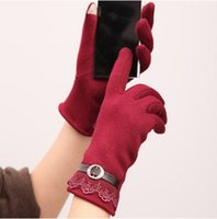 Wholesale Silk Lace Red Gloves - Wholesale- New Autumn Lace gloves Women Winter Knit Warm Super Quality Carve Flower Decorate Red Patchwork Purple Leather Full Finger Glove