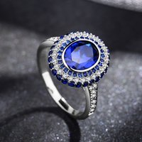 Wholesale Tungsten Rings Sapphire - European 925 Sterling silver Luxury sapphire ring Crystal from Swarovski Exquisite lace hollow silver lace index fit Pandora fashion jewelry
