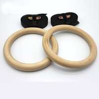 Wholesale Gym Rings Exercises - Wooden 28mm Exercise Fitness Gymnastic Rings Gym Exercise Crossfit Pull Ups Muscle Ups