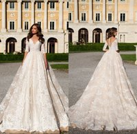 Wholesale Forest Sleeves - Modest Backless Champagne Country Forest A-Line Lace Wedding Dresses Half Long Sleeves V Neck Floor Length Bohemian Bridal Gown Plus Size