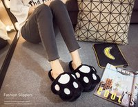 Wholesale Black Bear Paw Slippers - Cotton slippers women winter cartoon home anti-skid indoor thick plush bear PAWS mohair slippers