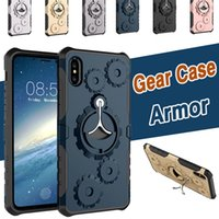 Rack d'engrenage mécanique TPU + PC Hybrid Sports Gym Running Armband Stand Holder Housse d'armure pour iPhone X 8 7 Plus 6 6S Samsung Note 8 S8