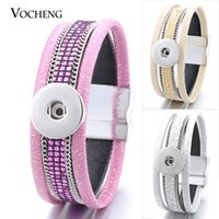 Wholesale Thin Bracelets Crystal - VOCHENG NOOSA Leather Bracelet Snap Jewelry 3 Colors Thin PU Charm Inlaid Crystal&Metal Chain 18mm Interchangeable Jewelry NN-421