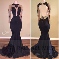 Wholesale sexy open back prom dresses - New Designer Black Mermaid Prom Party Dresses 2018 Sheer Long Sleeves Illusion Bodices Gold Appliques Sexy Open Back Evening Dresses