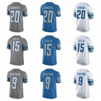Wholesale Elite Stitch Football Jerseys - 2017 Steel Rush Jersey Elite 15 Golden Tate III 20 Barry Sanders 9 Matthew Stafford Shirts New Blue Cheap Mens Stitched Football Jerseys