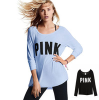 Wholesale Geometric Blouses - Women PINK Letter Print T Shirt Tops Long Sleeve Fashion Tee Casual Long Sleeve Shirt Tops Blouse Sportswear LJJK727