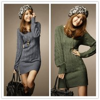 Wholesale Dress Belts Jumper - Wholesale-New Long Sweaters Autumn Winter Women Fashion Pullovers Jumper Fall 3 Solid Colors V-Neck Basic Knitted Sweater Dress NQ658742
