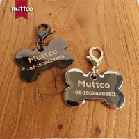 Wholesale laser pet tags - Free shipping laser engrave dog smooth surface lovely bone shape print dog tag pet name 2 shiny colors smooth surface zinc alloy Dog ID tags
