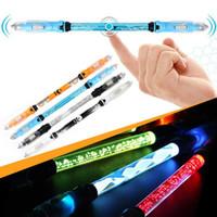 Wholesale Light Up Gadgets - 2017 LED Pen Light Fidget Hand Spinner Anti Stress Wheel Top Glow Finger Spinner Pen Spinning Light Up Fidget Toys Funny Gadget
