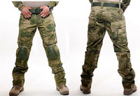 Wholesale Paintball Knee - Tactical Combat Pants Multicam Frog Uniform Trousers Camouflage Army Pants Airsoft Camo Paintball Pants with Knee Pads