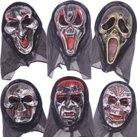 Wholesale horror scream - Wholesale Halloween Costume Party Long Face Skull Ghost Scary Scream Mask Face Hood Scary Horror Terrible Mask with Hood for adult big child