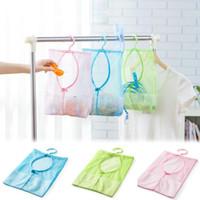 Wholesale Breast Dolls - Wholesale- New Qualified 2017 Storage bag 1pc Kitchen Bathroom Clothesline Storage Dry Doll Shelf Mesh Bag Hook Levert Dropship dig637