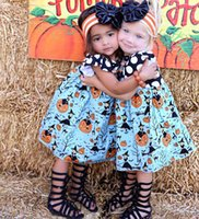 Wholesale Lanterns Flying - Children Halloween Day Dress Kids Fly Sleeve Pumpkin Print Princess Party Dress For 1-5 years old