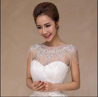 kolye omuz zinciri toptan satış-Romantik fildişi dantel gelin düğün takı kolye sheer tül uzun paragraf dantel kristal boncuklu omuz zinciri