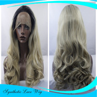 Long Synthetic Lace Front Wigs For Women Resistentes ao calor Africano American Dark Roots Black Ombre Long Wavy Wig Hairstyles