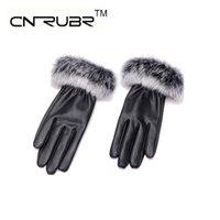 Wholesale Ladies Black Leather Gloves - Wholesale- Hot Trendy Autumn Winter Elegant Ladies Branded Designer New Arrived Plus Genuine Leather Cony Hair Soft Warm Gloves For Women