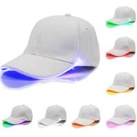 ingrosso cappelli del partito principale-2017 Cappelli Da Baseball LED Luminoso Partito Fibra Ottica Cappello Donna Uomo Hockey Snapback Basket Ball Caps Visiera Unisex Turismo WX-H01