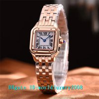 Wholesale Ladies Watches Small Dial - Luxury Brand Rose Gold White & Black Dial Square Small Quartz Ladies Watch Black Roman Numerals 24mm Business Womens Watches