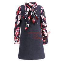 resmi gömlekler toptan satış-Pettigirl 2019 Yeni Vintage Kız Giyim Seti Çiçek Uzun Kollu Gömlek Siyah Elbise Çocuk Resmi Çocuk Giyim G-DMCS908-964 Giymek