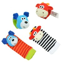 Wholesale Dog Ring Toy - Wholesale- New Arrival 2pcs Soft Baby Toy Wrist Strap Socks Cute Dog Cartoon Garden Bug Plush Rattle with Ring Bell