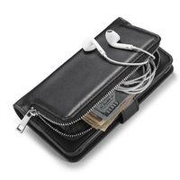 Wholesale Iphone Leather Case Zipper - Luxury Multifunction Wallet PU Leather Zipper Purse Pouch Phone case for iphone 6 6S 7 Plus S6 S7 edge S8 Plus