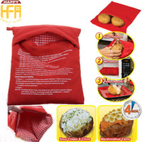 Wholesale Microwave Oven Cooker - 26*21Cm Microwave Potato Bags Cooker Bag Baked Potato Bags Washable Reusable Microwave Oven Potato Baking Bag Cooking Quick Fast Red