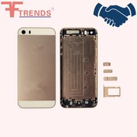 Wholesale Gold Iphone Mid Frame - Gray Gold Silver Housing Back Battery Door Cover Mid Frame Assembly for iPhone 5S with Side Button
