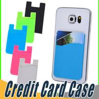 böğürtlen ince toptan satış-Ultra-ince Kendinden Yapışkanlı Kredi Kartı Cüzdan Kart Set Kart Tutucu Akıllı Telefonlar Için Renkli Silikon iPhone X 8 7 6 S Sumsung S8 S9 Artı