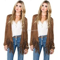 Wholesale Wholesale Fringe Jacket - Wholesale- Spring Fall Women Clothing Outwear Outfits Fashion Short Cardigan Coat Tassel Fringe Casual Loose Jacket Chic Khaki