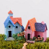 ingrosso piante da giardino casa-1pcs miniatura casa delle bambole in miniatura mini paesaggio fata giardino mini carino casa piccola mestieri della resina per la casa piante decorazione