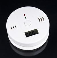 carbon monoxide alarm al por mayor-Alta Sensible LCD Digital de Luz de Fondo Detector de Detector de Alarma de Monóxido de Carbono CO Sensor de Gas Alarma Para Seguridad de Seguridad en el Hogar blanco